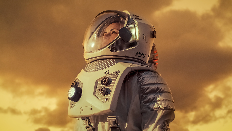 Astronautti rintamasuunta ylöspäin