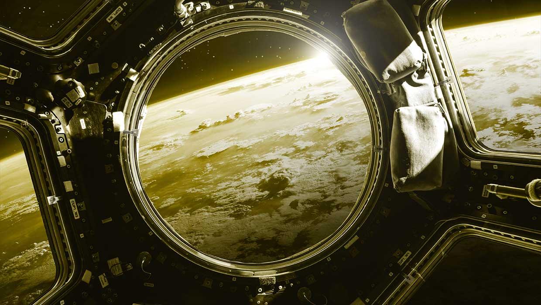 Näkymä avaruusaluksesta planeetan pinnalle.