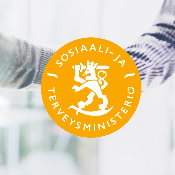 Mainostoimisto Uhman referenssi: sosiaali- ja terveysministeriö. Kuvassa on sosiaali- ja terveysministeriön logo sekä kaksi kättelevää miestä.